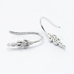 925 крючки для сережек из микропаве из серебра 925 пробы, платина, 18x4.5 mm, отверстия: 1 mm; контактный: 0.8 mm(STER-L054-24P)