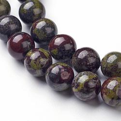 Chapelets de perle en jaspe de sang de dragon naturel, rond, 10mm, trou: 1mm; environ 35~37 pcs/chapelet, 14.96''(G-P214-05-10mm)