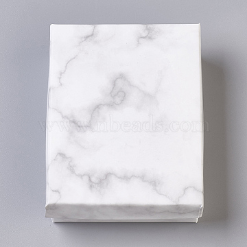 Paper Cardboard Jewelry Boxes, Rectangle, with Black Sponge inside, White, 9.1x7.1x2.8cm; Inner Size: 8.5x6.4cm(X-CBOX-E012-03A)