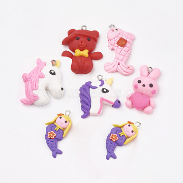 Handmade Polymer Clay Pendants, with Iron Findings, Mixed Animal, Platinum, Mixed Color, 31~36x20~30x5.5~11mm, Hole: 2mm(X-CLAY-T012-22)