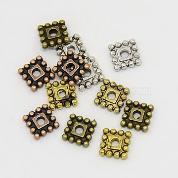 Mixed Color Square Alloy Spacer Beads