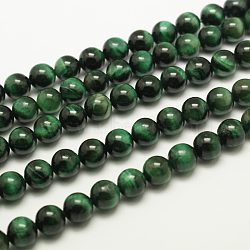 Natural Tiger Eye Beads Strands, Round, Dyed & Heated, MediumSea Green, about 10mm in diameter, hole: 1mm