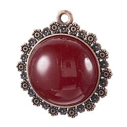 Pendentifs en alliage, avec de la résine, sans nickel, demi-rond, DarkRed, cuivre rouge, 45x41x12mm, Trou: 3mm(PALLOY-G248-01R-NF)