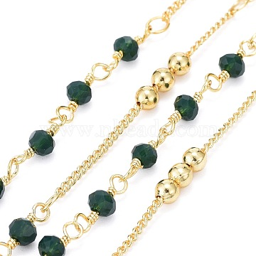 Handmade Brass Curb Chains, with Faceted Glass Links, Brass Beads, Soldered, Long-Lasting Plated, Real 18K Gold Plated, Dark Green, 1.7x1.3x0.4mm, Beads: 3.5x2.5~3mm and 3mm(X-CHC-I035-02G-07)