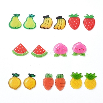 Plastic Cabochons, with Glitter Powder, Fruits, Mixed Color, 18~25x16~25x2~3mm, about 16pcs/set(KY-X0008-03)