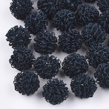 Spray Painted Eco-Friendly Iron Wire Beads, Round, Prussian Blue, 16~17mm(X-IFIN-T009-09B)