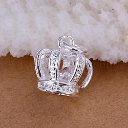 Laiton pendentifs couronne de zircone cubique, argenterie, 17x11mm(KK-BB11576)