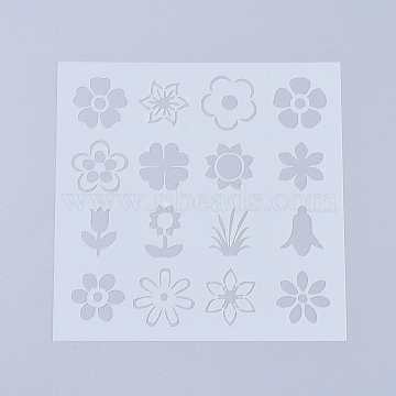 Plastic Painting Stencils, Drawing Template, For DIY Scrapbooking, Plant, White, 130x130x0.2mm(X-DIY-L026-106C)
