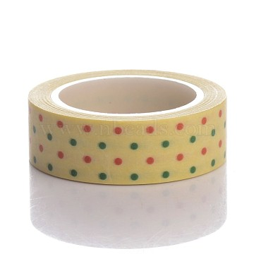 Dot Pattern DIY Scrapbook Decorative Adhesive Tapes for Christmas, Mixed Color, 15mm, 10m/roll(DIY-K001-G-07)