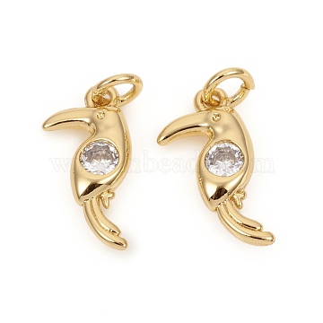 Brass Micro Pave Cubic Zirconia Charms, with Jump Rings, Bird, Clear, Golden, 13.5x7x2.3mm, Jump Rings: 4x0.8mm, 2.2mm Inner Diameter(X-ZIRC-L096-11G)