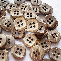 Bouton à coudre rond sculpté 4 trous, bouton de noix de coco, multicolore, 11 mm de diamètre(NNA0YYQ)
