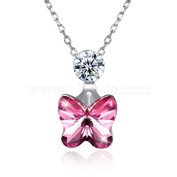 925 Sterling Silver Pendant Necklaces, with Austrian Crystal, Butterfly, Platinum, 209_Rose, 15.7inches(NJEW-BB30773-B)
