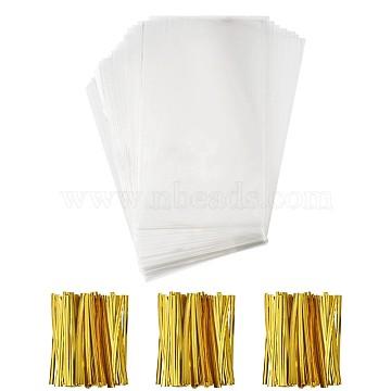OPP Cellophane Bags, with Plastic & Iron Core Wire Twist Ties, Rectangle, Gold, 25x15cm, 100pcs/set(AJEW-TA0016-14B)