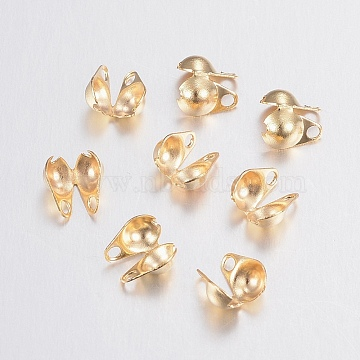 304 Stainless Steel Bead Tips, Calotte Ends, Clamshell Knot Cover, Golden, 6x4x3mm, Hole: 1mm, Inner Diameter: 3.5mm(STAS-H436-26)