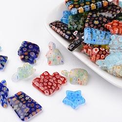 Forme mixte pendentifs en verre fait à la main millefiori, couleur mixte, 21~33x12~25x4~8mm, Trou: 1~1.5mm(LK-L004-13)