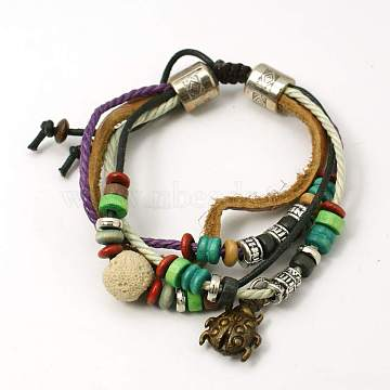 Lava Rock Beads Bracelets, Waxed Cotton Cord and Leather Cord with Alloy Findings and Wood Beads, Beige, 44mm(BJEW-D264-08)