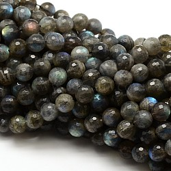 Natural Labradorite Round Bead Strands, Faceted, Grade AAA, 6mm, Hole: 1mm; about 62pcs/strand, 15.5inches