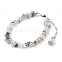 """Perles de cheville en quartz tourmaliné naturel / perles de quartz rutées noires, avec des perles en verre de graine, avec accessoires en laiton et en acier inoxydable, 8-1/2"""" (21.5 cm)(AJEW-AN00229-03)"""