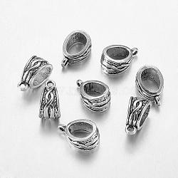Liens de suspension de style tibétain, Perles renflouer , sans plomb et sans cadmium, argent antique, longueur d'environ 14 mm , 7.5 large, épaisseur de 9mm, Trou: 1.5mm(X-LF10386Y)