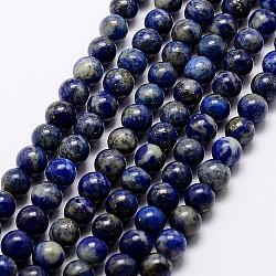 Natural Lapis Lazuli Beads Strands, Round, 10mm, Hole: 1mm, about 38pcs/strand, 15.5