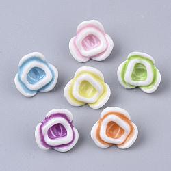 24pc yellow acrylic flower shape bead-1174