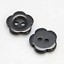 Resin Buttons, Dyed, Flower, Black, 11x2.4mm, Hole: 1.6~1.8mm; about 1000pcs/bag