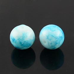 """Chapelets de perles en verre peint par pulvérisation, rond, teint, Bleu ciel, 6mm, trou: 1.3~1.6mm; environ 133 pcs/chapelet, 31.4""""(X-GLAA-R139-6mm-10)"""