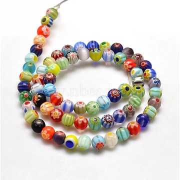 Round Millefiori Glass Beads Strands, Mixed Color, 4mm, Hole: 0.5mm; about 100pcs/strand, 14 inches(X-LK-P001-21A)