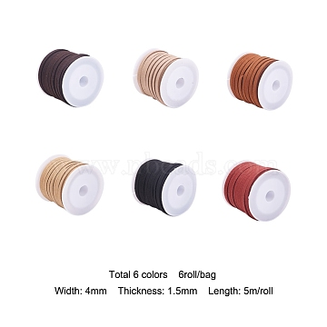 Faux Suede Cord Sets, Faux Suede Lace, Mixed Color, 4x1.5mm, about 5.46 yards(5m)/roll, 6roll/bag(LW-YW0001-01A)