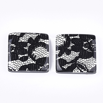Resin Cabochons, with Lace Inside, Square, Black, 30x30x7mm(X-RESI-S377-19A)