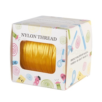 Nylon Thread, Rattail Satin Cord, Gold, 1.0mm, about 76.55 yards(70m)/roll(NWIR-JP0013-1.0mm-543)