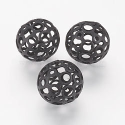 Spray Painted Iron Beads, Hollow Round, Black, 16mm, Hole: 1mm(X-IFIN-E745-02D)