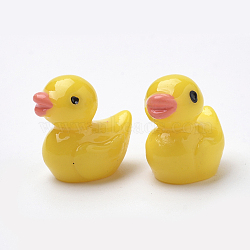 No Hole Resin Beads, Duck, Yellow, 14.5x14x10.5mm(X-CRES-S303-03)