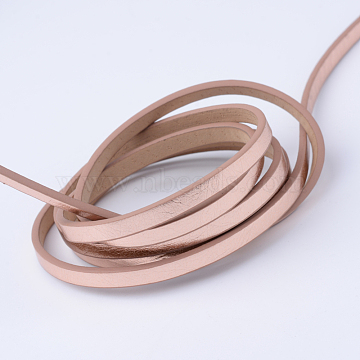 Imitation Leather Cords, Pink, 5~5.5x2mm, about 1.31 yards( 1.2m)/strand(X-LC-S012-04)