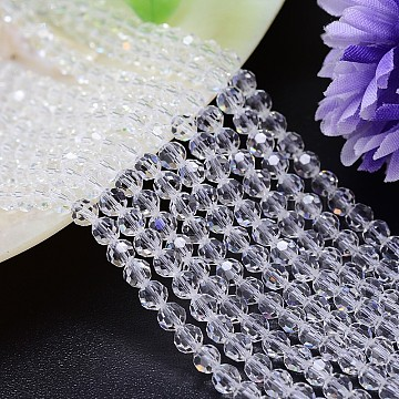 Imitation Austrian Crystal Bead Strands, Grade AAA, Faceted Round, Clear, 12mm, Hole: 0.9~1mm; about 33pcs/strand, 15.7 inches(G-M181-12mm-01A)