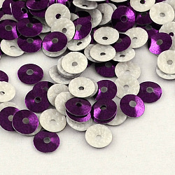 Perles de paillette en plastique en forme de cône, perles de paillettes, violet, 6mm, trou: 1 mm; environ 110000 1000 pcs g(PVC-R002-6mm-HF3015)