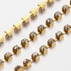 3 mm de large catégorie de ton or un vêtement décoratif de chaînes en cristal en laiton de parage strass grade A tasse de strass grade A(X-CHC-S12-G)