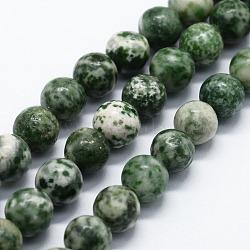 """Chapelets de perles en jaspe à pois verts naturels, rond, 8mm, trou: 0.8mm; environ 47 pcs/chapelet, 14.96"""" (38 cm)(G-I199-30-8mm)"""