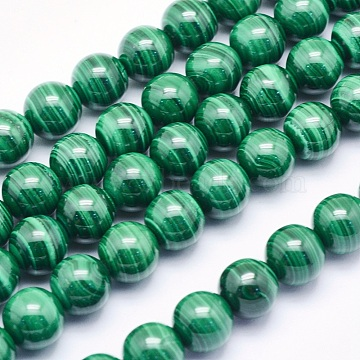 Natural Malachite Beads Strands, Round, 8mm, Hole: 1mm; about 49pcs/strand, 15.5inches(39.5cm)(G-O166-06-8mm)