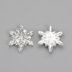 strass en laiton à dos plat, avec des strass acrylique, flocon de neige, plaqué argent, 28x24x5 mm(RB-S065-04)