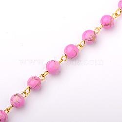 rondes à la main perles acryliques de banc d'étirage chaînes de colliers bracelets faire, avec épingle à œil en fer doré, non soudée, violette, 39.3(AJEW-JB00051-01)