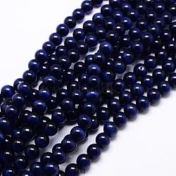 perles oeil de chat, arrondir, darkblue, 8 mm, trou: 1 mm; environ 15.5 / brin, environ 49 pcs / brin(X-CER8mm26)
