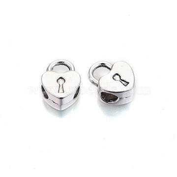 Tibetan Style Alloy Hanger Links, Bail Beads, Cadmium Free & Lead Free, Padlock, Antique Silver, 13.5x10x6mm, Hole: 4mm, Inner Diameter: 4mm(X-TIBE-S314-106AS-RS)