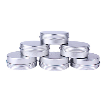 Round Aluminium Tin Cans, Aluminium Jar, Storage Containers for Cosmetic, Candles, Candies, with Screw Top Lid, Platinum, 4.8x1.8cm; Capacity: 25ml(0.84 fl. oz)(CON-L009-C03)
