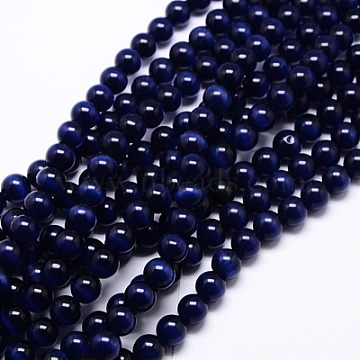 Cat Eye Beads, Round, Dark Blue, 8mm, Hole: 1mm; about 15.5 inches/strand, about 49pcs/strand(X-CER8mm26)