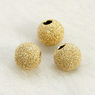 Yellow Gold Filled Textured Beads, 1/20 14K Gold Filled, Cadmium Free & Nickel Free & Lead Free, Round, 6mm, Hole: 1mm(KK-G155-6mm-2)