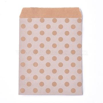 Kraft Paper Bags, No Handles, Food Storage Bags, BurlyWood, Polka Dot Pattern, 18x13cm(CARB-P001-D02-07)