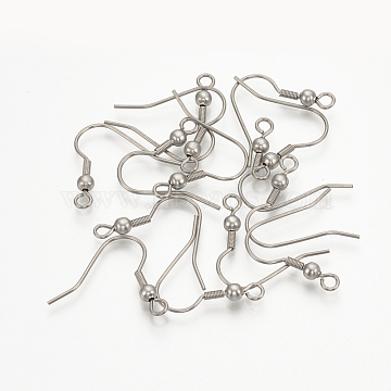 304 Stainless Steel Earring Hooks, Cadmium Free & Lead Free, Stainless Steel Color, 20x21x3mm, Hole: 1.5mm: Pin: 0.8mm(X-STAS-T015-42)