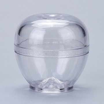 Plastic Candle Molds, for Candle Making Tools, Apple Shape, Clear, 54x54mm, Hole: 14mm, Inner Diameter: 46mm(DIY-I035-11)