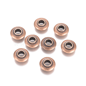 Alloy Beads, Long-Lasting Plated, Large Hole Donut Beads, Nickel Free, Red Copper, 14x5mm, Hole: 5mm(MPDL-E027-03R-NF)